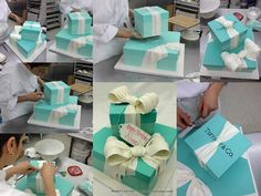 Tiffany and Company Gift Boxes All Buttercream icing, sugar bows to decorate! #TiffanyandCo #Giftboxcakes #Wedding #BridalShower #Birthdaycakes #birthdayparties #Tiffanyblue #pinparty #njweddings