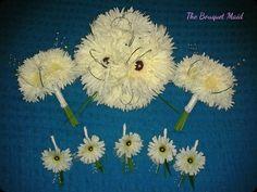 www.thebouquetmaid.co.uk  White Gerberas, Pearl Grass & a Bit of SPARKLE!