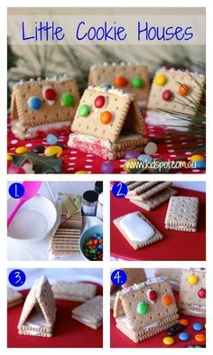 Little cookie houses recipe Gingerbread houses are a true Christmas tradition. These little cookie houses are a simplified version that the kids will love making and eating. by jami Christmas Gingerbread, Christmas Treats, Holiday Treats, Christmas Fun, Gingerbread Houses, Christmas Houses, Christmas Cookies For Kids, Easy Gingerbread Recipe, Graham Cracker Gingerbread House