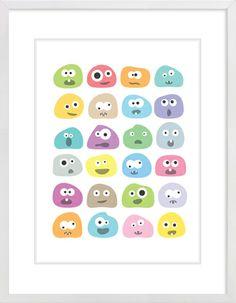 Monster Blobs Nursery Wall Print to brighten up your kid's room. Artwork prices start at $7.00. #nurserywallprints #monster #blobs