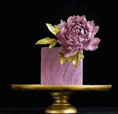 Large Lilac Flower & Gold Leaves Little Cake Photo