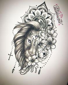 Mandala Lion Tattoo, Mandala Flower Tattoos, Sunflower Tattoos, Thigh Tattoo Designs, Lion Tattoo Design, Flower Tattoo Designs, Pretty Tattoos, Cute Tattoos, Small Tattoos