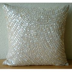 Decorative Pillow Sham Covers Accent Couch Sofa Pillow 24x24 Linen Pillow Sham Mother Of Pearl Embroidered Pillow Case Bedroom Glazed Pearls