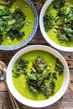 Vegan Soups, Vegetarian Recipes, Healthy Recipes, Healthy Breakfasts, Broccoli Soup Recipes, Vitamix Recipes, Kale Recipes, Green Soup, Green Kale