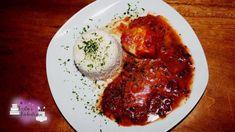 Hähnchenbrust in Tomatensauce - Rezept von Kerstins Kuechentraum Steak, Grains, Beef, Foodblogger, Link, Tomato Sauce Recipes, Spinach, Souffle Dish, Eat Lunch