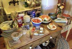 Making Apricot Cheesecake. Cheesecake by 2smartminiatures. Kathleen Holmes dollhouse kitchen.
