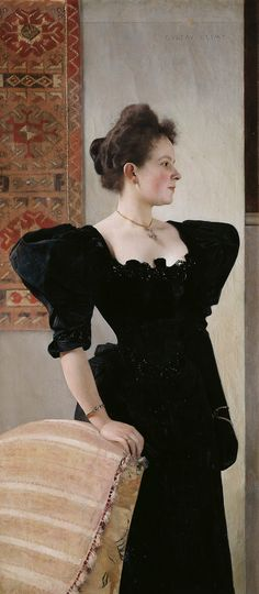 Portrait of Marie Breunig  1894. Marie Breunig was born in humble circumstances in one of the crownlands of the monarchy and married a successful Viennese businessman. She was also a client of the Flöge sisters' fashion salon and was already befriended with them at the time this painting was created.