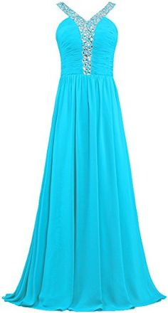 ANTS Women's V Neck Crystal Straps Long Prom Dresses Evening Gowns Size 16 US Turquoise