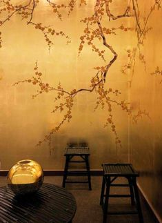 Pretty gold cherry blossom wallpaper..inspiration for my yoga room :)