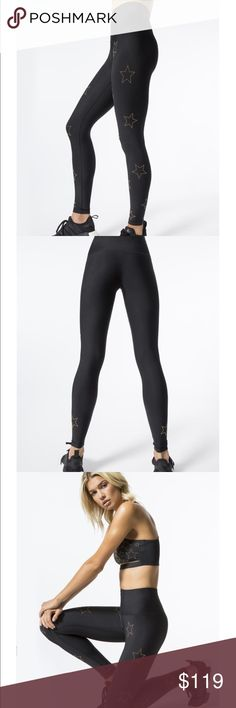 BEACH RIOT BLACK STAR STUDDED LEGGINGS Brand new with tags Beach Riot for Carbon 38 black stretch leggings with gold micro studs throughout. Size xs have a good deal of stretch. These have sold out numerous times. Super soft almost silk like fabric. Beach Riot Pants Leggings