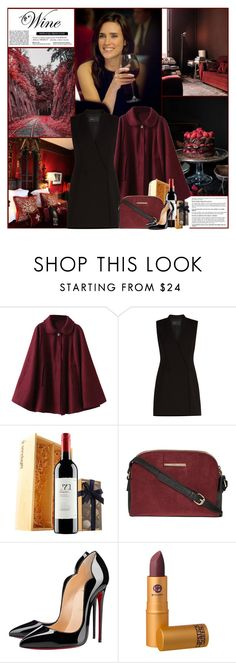 """Red Wine"" by kittyfantastica ❤ liked on Polyvore featuring Witchery, BCBGMAXAZRIA, Dorothy Perkins, Christian Louboutin and Lipstick Queen"