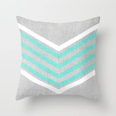 Teal and White Chevron on Silver Grey Wood Throw Pillow