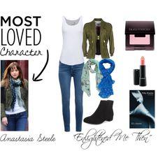Anastasia Steele by santhiyastyles on Polyvore featuring moda, Juvia, Dsquared2, Paige Denim, Charlotte Russe, Boohoo, Laura Mercier and MAC Cosmetics
