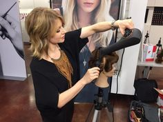 Sonna Brado, KMS Artistic Director, was participating in a recent training at the Goldwell/KMS Academy in Santa Monica, California, and agreed to demonstrate HOW TO get maximum volume in a blow out. Get some tips and check out the very cool blow dryer she is using!!! We love: