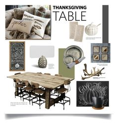 """""""thanksgiving table"""" by momentarily ❤ liked on Polyvore featuring interior, interiors, interior design, home, home decor, interior decorating, Kith & Kin, Flamant, L'Objet and Pier 1 Imports"""