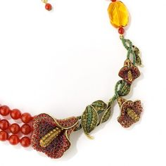 """Captivating Calla Lily"" 3-Row Carnelian Beaded 