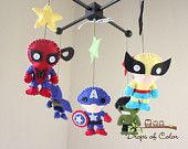 omg. make it cheaper. Baby Mobile - Baby Crib Mobile - Nursery Super Heroes Mobile - Super Girls (You Can Pick Other Custom Heroes). $95.00, via Etsy.
