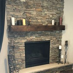 Mantel With Metal Straps – Fireplace Mantel – Mantle – Rustic Mantle – Floating – Barn Wood – Barn Beam – Custom Lengths – Farmhouse Fireplace Mantels Stone Fireplace Makeover, Home Fireplace, Fireplace Remodel, Fireplace Design, Airstone Fireplace, Stone Fireplace Mantel, Fireplace Makeovers, Fireplace Cover, Reclaimed Wood Mantel