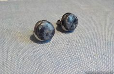 New ***.  Pietersite natural stone stud earrings.  10 mm diameter.  Rhodium plated,  hard wearing (Gun metal). by Grindingstone on Etsy