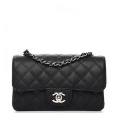 4649e3742170 CHANEL Caviar Quilted Mini Rectangular Flap Black ❤ liked on Polyvore  featuring bags