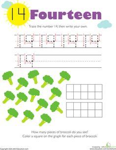Tracing numbers counting 14 worksheet education com Kindergarten Math Worksheets, Number Worksheets, Tracing Worksheets, Kids Worksheets, Printable Worksheets, Coloring Worksheets, Printables, Numbers Preschool, Preschool Math