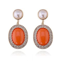 Gold Tone Metal Orange Resin Stone and Rhinestone with Pearls Button Drop Dangle Earrings * Find out more details by clicking the image : Jewelry Trends
