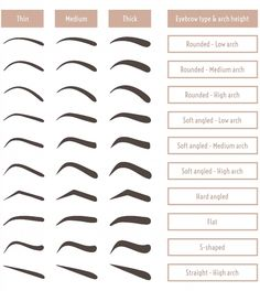 Poster of Eyebrow shapes. Various types of eyebrows. Classic type and other. Trimming. Vector illustration with different thickness of brows. Set with captions. Makeup tips. #poster, #printmeposter, #mousepad, #tshirt