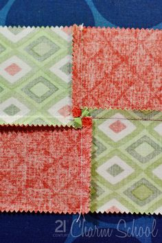Tutorial: How to make a perfect four-patch quilt block. Decide which way you will press your seam allowance. Ideally, you will press in opposite directions, toward the darker fabric. So, see how the block on top is being pressed to the left, while the block on the bottom is being pressed to the right? This makes it really easy,