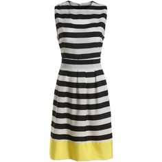 Color-block Striped Sun Dress (8.250 CLP) ❤ liked on Polyvore featuring dresses, romwe, black, sleeveless dress, cotton dress, short black dresses, black sleeveless dress and color block dress