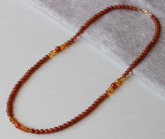 Red Aventurine and Amber Chip Gemstones Long Necklace by ILgemstones on Etsy