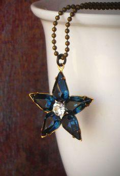 Sapphire Rhinestone Star Necklace Midnight Blue Gift