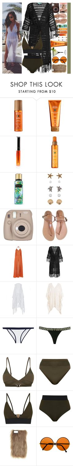 """""""With Sophia Smith"""" by angelbrubisc ❤ liked on Polyvore featuring Fujifilm, Alterna, By Terry, Accessorize, CÉLINE, Melissa Odabash, Eberjey, Heidi Klein, Versace and Topshop"""