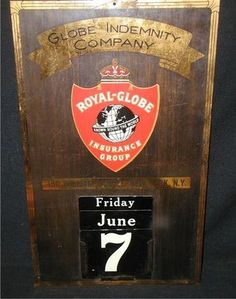 """Vintage ROYAL GLOBE Insurance Group Brass Calendar Sign~21""""x 13""""   ebay"""