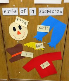 Have students build their own scarecrow as a center. TONS of Math, Reading, and Writing Activities! And a FREEBIE! Fall Preschool Activities, Preschool Lessons, Preschool Classroom, Classroom Activities, In Kindergarten, Toddler Activities, Preschool Fall Theme, Thanksgiving Activities, Classroom Decor