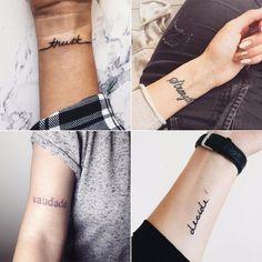 33 Tattoos That Prove How Powerful 1 Word Can Be : Tatuajes Muneca Est Tattoos, Rib Tattoos Words, One Word Tattoos, Quote Tattoos Girls, Tattoos For Guys, Tattoos For Women, Faith Tattoos, Music Tattoos, Arrow Tattoos