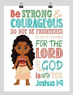 Moana Christian Nursery Decor Wall Art Print - Be Strong & Courageous Joshua 1:9 Bible Verse - Multiple Sizes Bible verse wall art print children kids room nursery decor strong and courageous strenght courage Lord God is with you #ad