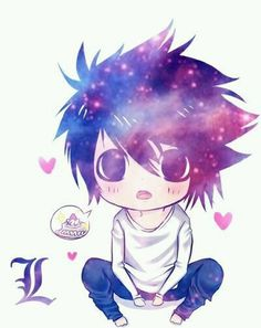 L Death Note chibi♥♥ Anime Chibi, Anime Kawaii, Manga Anime, Kawaii Chibi, Cute Chibi, Anime Art, Chibi Eyes, Otaku Anime, Fan Art