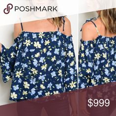 Just in!!! S-L Navy Floral Boho Top Super cute! Really pretty print! Runs pretty large IMO SO size down highly recommended. Tops