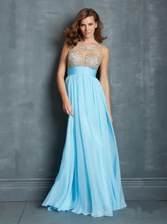 Sexy A-line Beaded Bodice illusion Formal Dress/ Prom Dress Evening Dress Nms 7101
