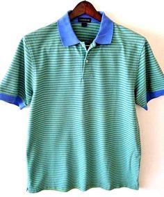 Lands' End Polo Shirt Large 42-44 Men's Green Blue Stripe 100% Pique Cotton EUC…