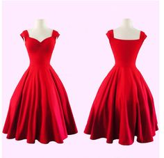 Pure Color Square Sleeveless Ball Gown Vintage Knee-length Dress