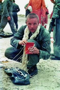 Neil Armstrong while he goes through desert survival training at Stead Air Force Base in northwestern Nevada on Aug.