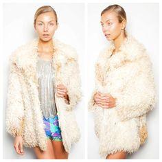 amazing vintage 60s/70s Mongolian lamb fur curly cream hippie coat jacket
