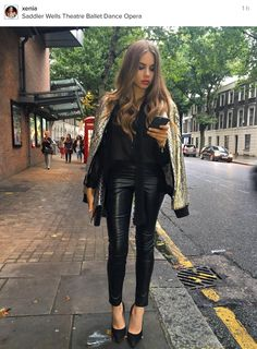 Arrived a bit too early for once. Xenia Tchoumitcheva, Leder Outfits, Girl Fashion, Womens Fashion, Leather Leggings, Classy Outfits, Sexy, How To Wear, Clothes
