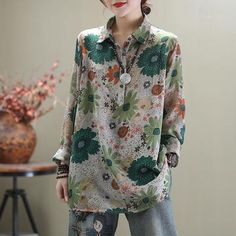 Find casual loose cotton linen clothes, shop high quality plus size pants, loose long linen maxi dresses, fashion loose sweaters, jumpsuits from buykud.com. Plus Size Pants, Plus Size Shirts, Folk Fashion, Fashion Prints, Suspender Dress, Cotton Jumper, Long Sleeve Floral Dress, Floral Print Skirt, Loose Shirts
