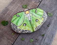 Rock Art LUNA MOTH Hand Painted Beach Stones Insect Totems Animal Spirit Guides Moon Goddess Fantasy Art Magickal Gifts for Her Altar Decor