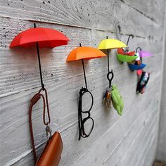 Colorful Umbrella Wall Hooks (Set of 6) | GeekyGet