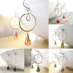 Crystal Teardrop Earrings  silver hoop peach by SerasiJewelry, $19.99