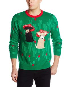 Alex Stevens Men's Merry Chihuahua Ugly Christmas Sweater at Amazon Men's Clothing store: