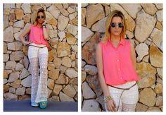 ♥ LOOK OF THE DAY 18-10-2012 ♥  ♥ Camisa sin Mangas Coral  ♥ Oxford Calado Crudo (también en negro)  ♥ Saona Birken Sandals Acqua